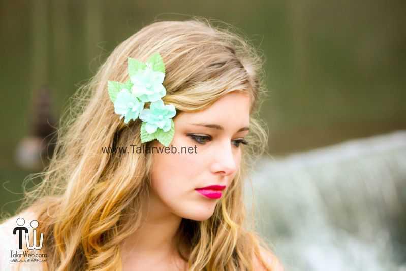3 bloom wedding hair accessory teal aqua.full  - مدل گل سر برای عروس