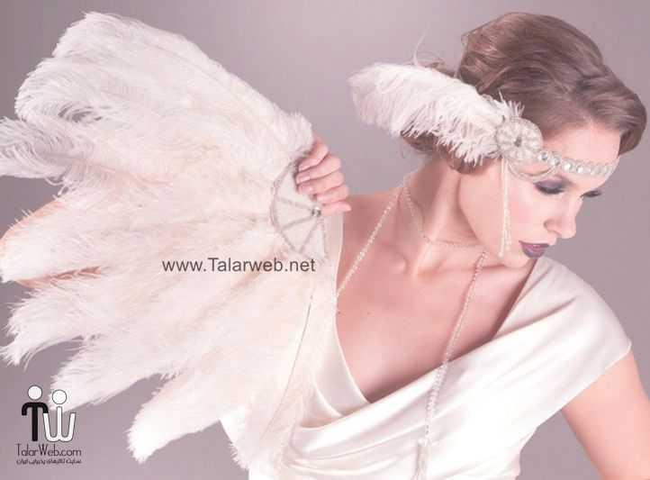 art deco wedding accessories feather bridal fan.full  - مدل گل سر برای عروس