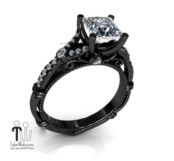 black engagement rings with pink diamonds - انشگتر نامزدی نگین دار