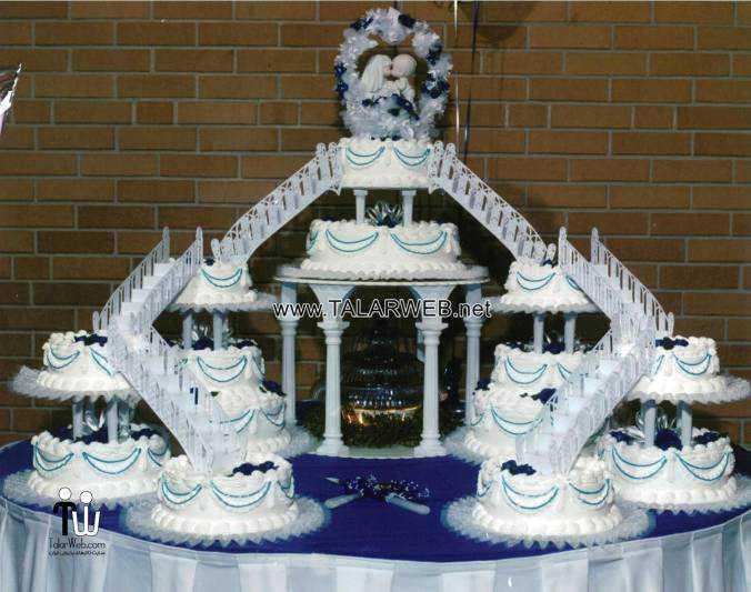 blue wedding cakes fountain - مدل های کیک عروسی