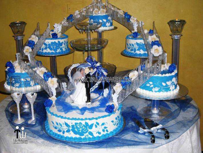 blue wedding cakes with fountains - مدل های کیک عروسی