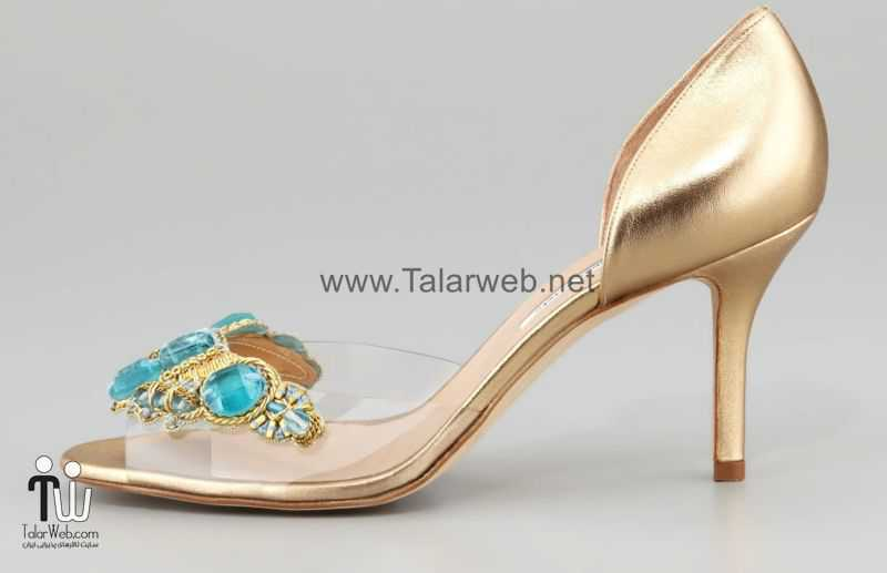 oscar de la renta wedding shoes gold with turquoise and sheer.full  - مدل های زیبا از کفش عروس