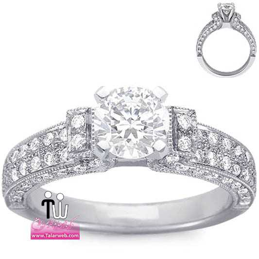 pave set diamond flared arch ring platinum.full  - مدل های زیبای انگشتر و حلقه عروس ۱