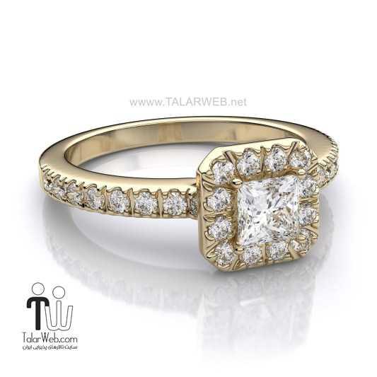 princess cut halo engagement ring yellow gold - انگشتر نامزدی و ازدواج -سری ۲