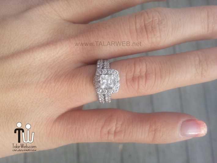 princess cut halo engagement rings with wedding band - انگشتر نامزدی و ازدواج -سری ۲