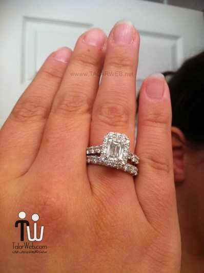 radiant cut engagement rings on finger - انگشتر نامزدی و ازدواج -سری ۲