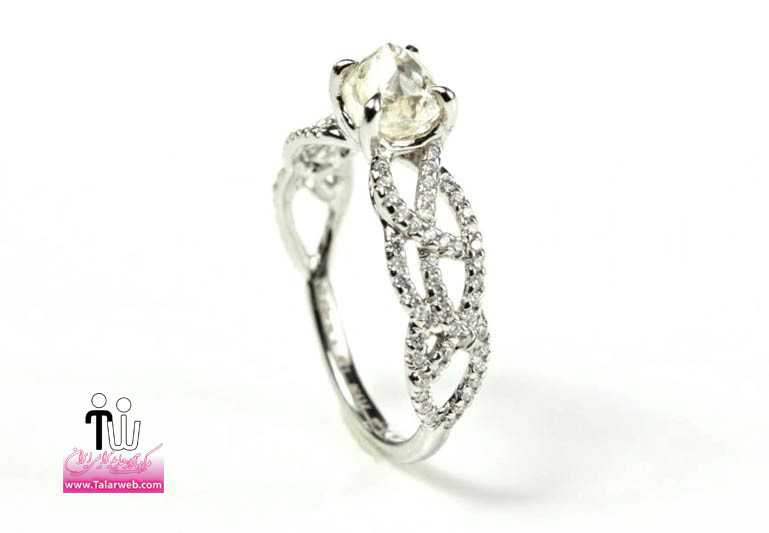 rough cut diamond engagement ring with pave diamond band.full  - سری زیبا و شیک مدل انگشتر و حلقه عروس