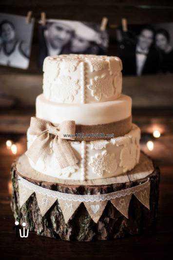 rustic wedding cake ideas with burlap - کیک عقد و عروسی