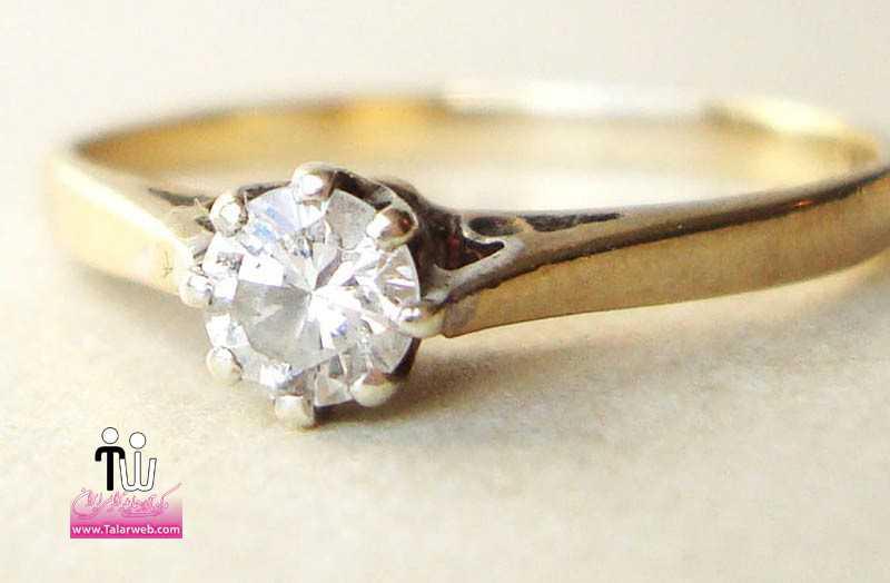 simple yellow gold engagement ring with round diamond.full  - مدل های زیبای انگشتر و حلقه عروس ۱