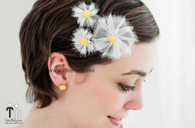 white and yellow daisy inspired wedding hair accessories.full  - مدل گل سر برای عروس