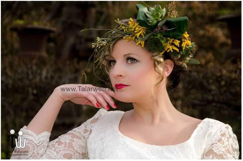 yellow floral headdress - مدل گل سر برای عروس