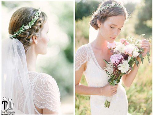 جدیدترین ژست عروس با گلهای طبیعی