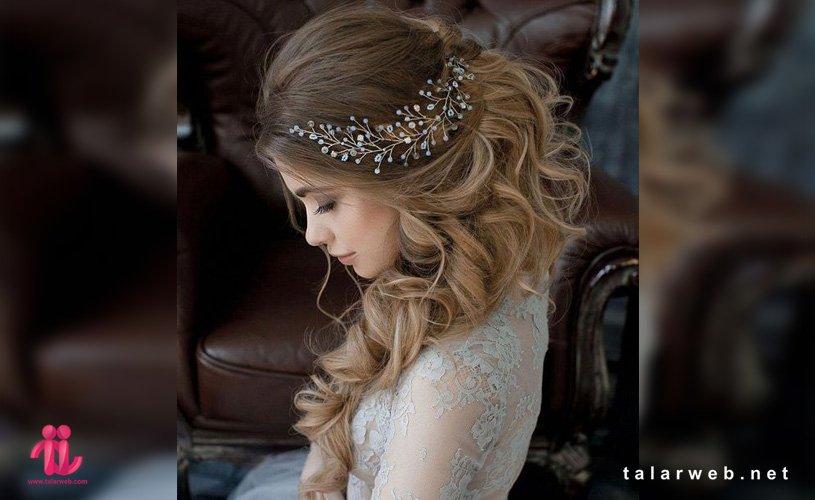 انواع مدل مو عروس با تاج