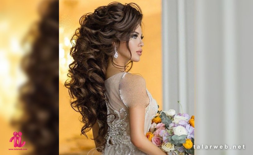 شینیون عروس با موی فر و باز