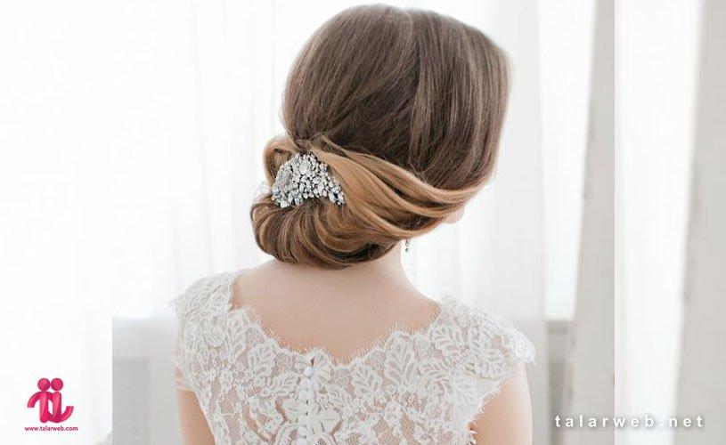 انواع مدل موی عروس با تاج