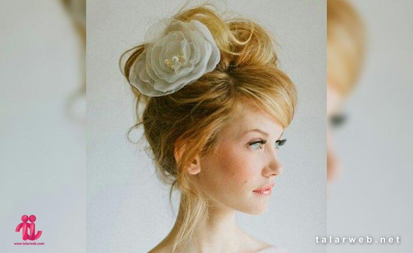 جدیدترین شینیون عروس با موی چتری
