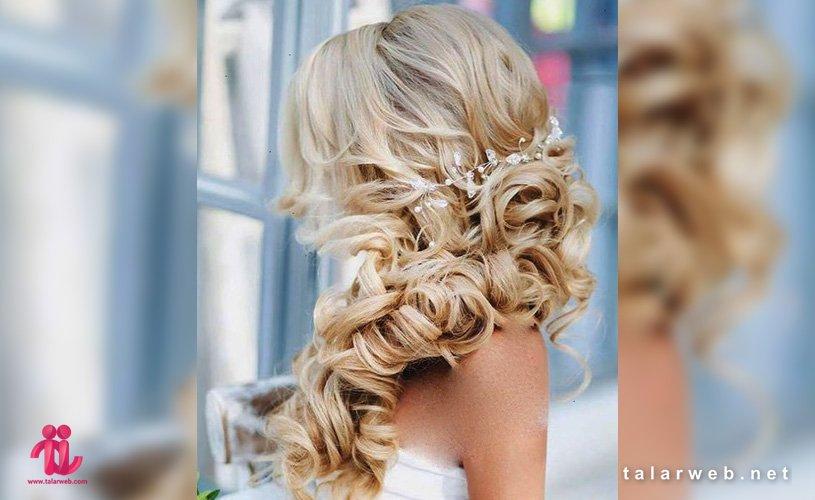 ۲۰ مدل شینیون عروس با موی فر